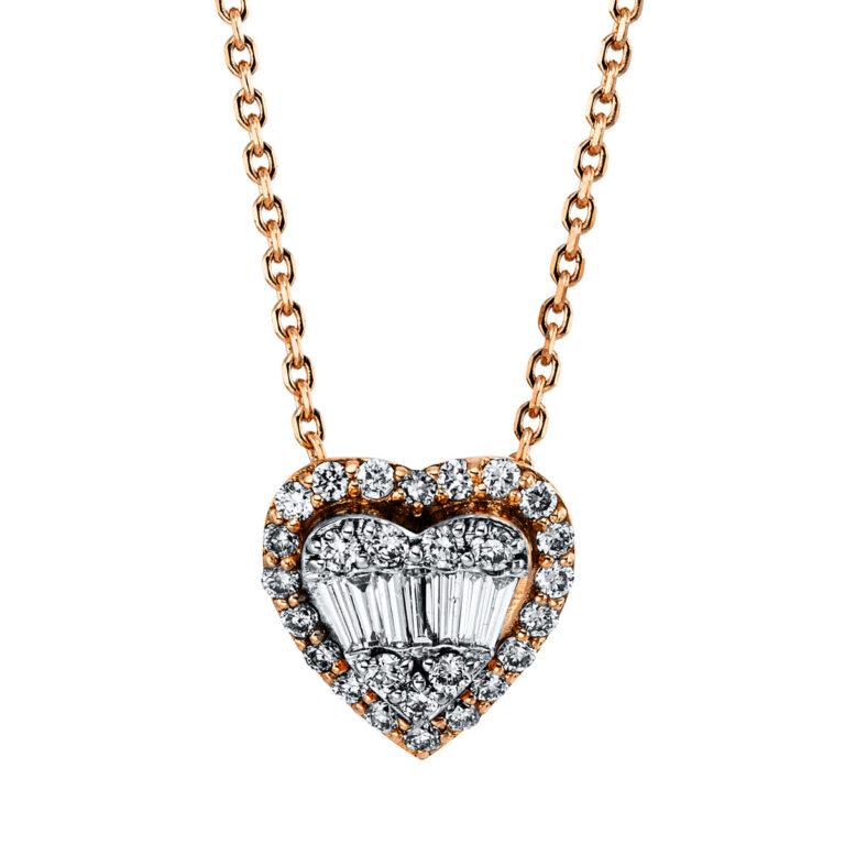 18 kt vörös arany nyaklánc 34 gyémánttal 4G363R8-1