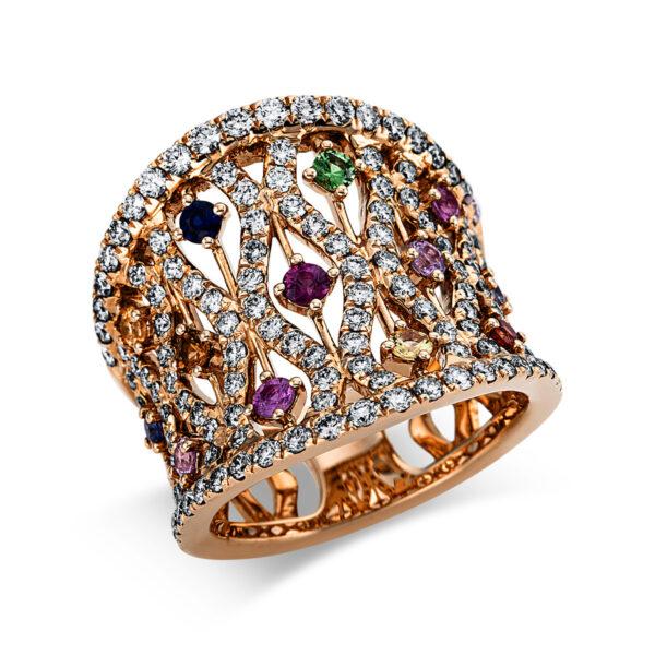 18 kt vörös arany színes drágakő 130 gyémánttal