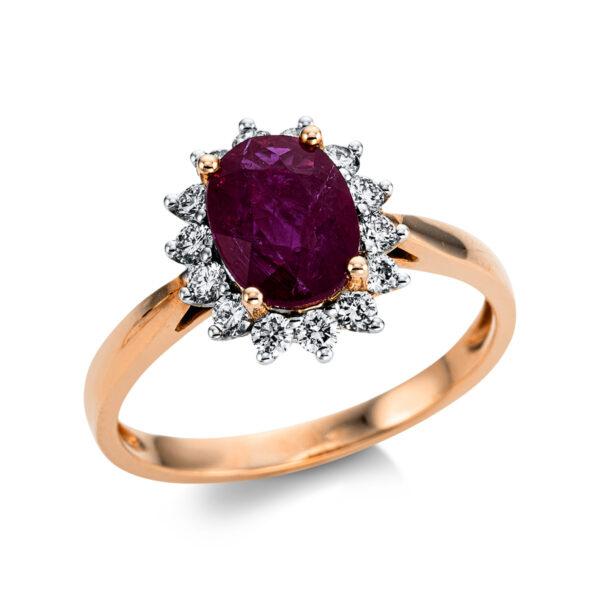 18 kt vörös arany színes drágakő 14 gyémánttal