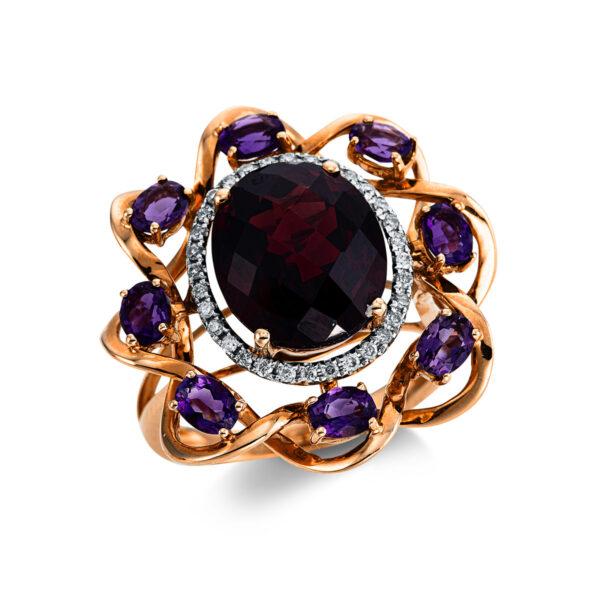18 kt vörös arany színes drágakő 32 gyémánttal