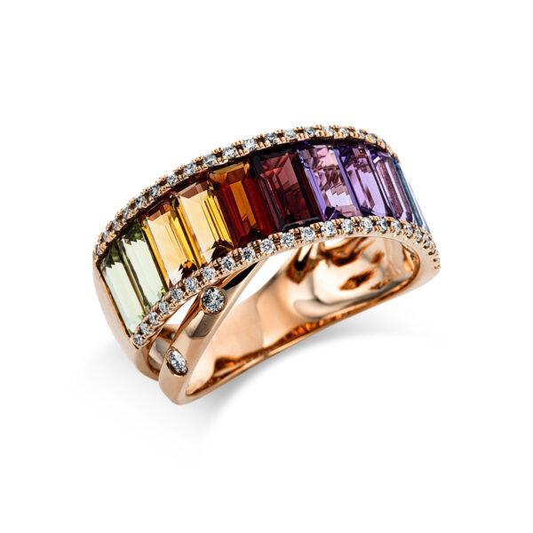 18 kt vörös arany színes drágakő 50 gyémánttal
