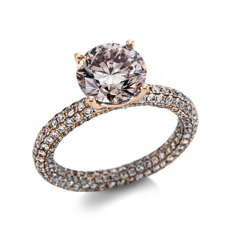 18 kt vörös arany szoliter oldalkövekkel 316 gyémánttal 1X280R854-1