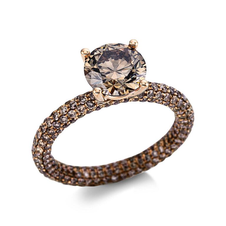 18 kt vörös arany szoliter oldalkövekkel 330 gyémánttal 1X282R854-1
