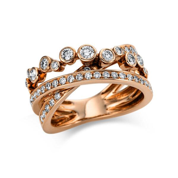18 kt vörös arany több köves gyűrű 48 gyémánttal 1W978R853-1