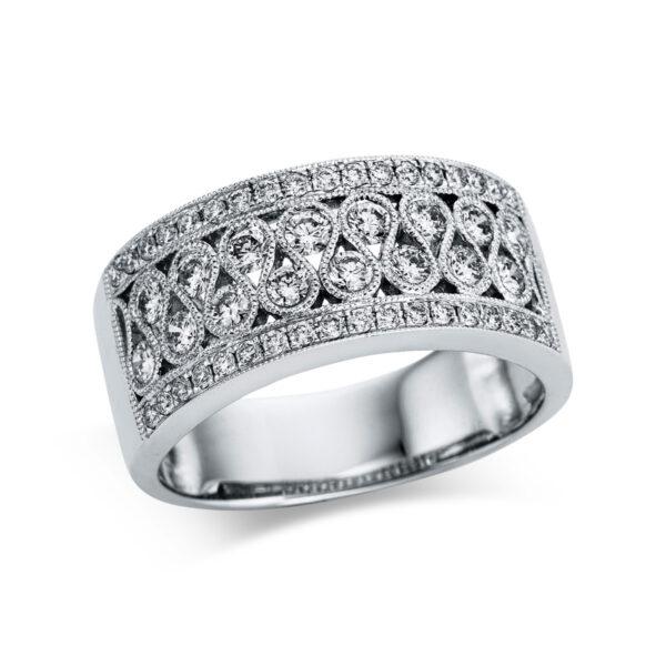 9 kt fehérarany több köves gyűrű 52 gyémánttal 1W868W956-1